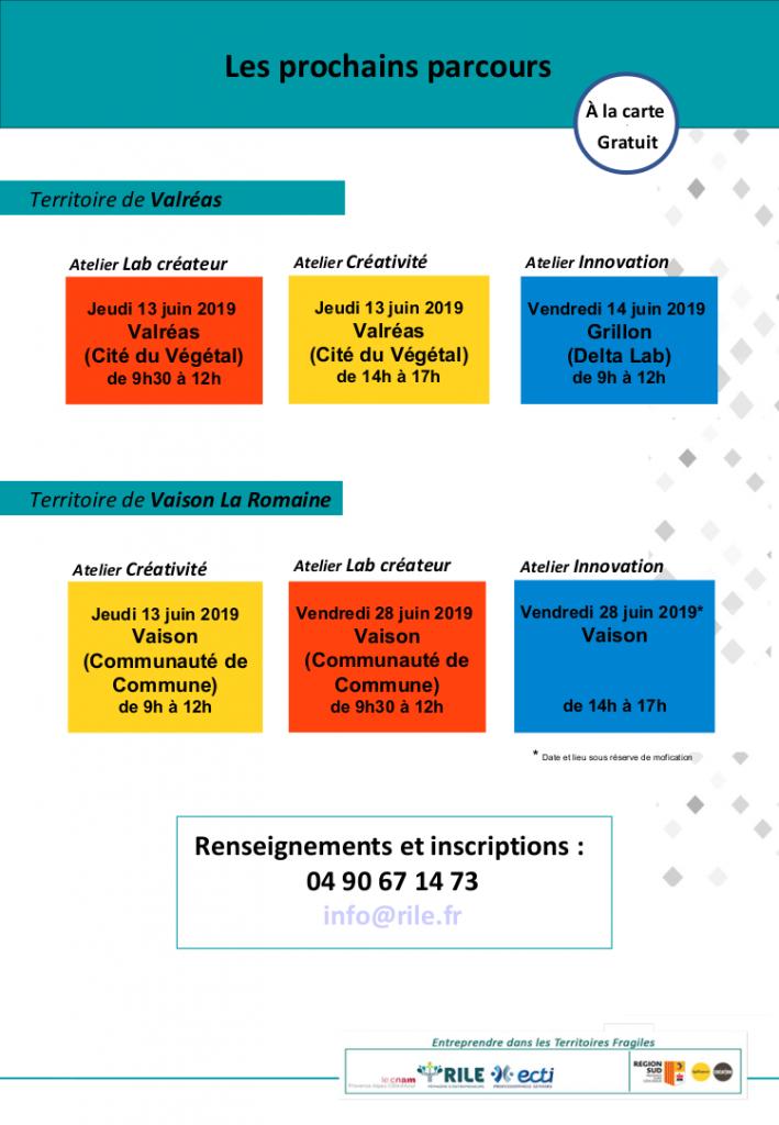 ateliers créativité, innovation, lab créateur 13 14 et 28 juin 2019 valréas vaison-la-romaine